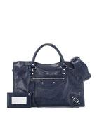 Classic City Lambskin Shoulder Bag, Blue