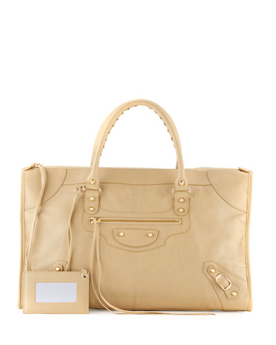 Classic Gold Work Tote Bag, Beige
