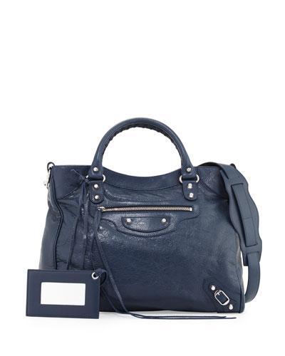 Giant 12 Silver Velo Lambskin Tote Bag, Blue