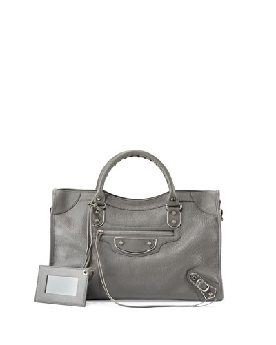 Classic Metallic Edge City Bag, Gris Acier