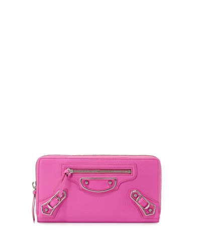 Metallic Edge Zip-Around Wallet, Rose Fluorescent