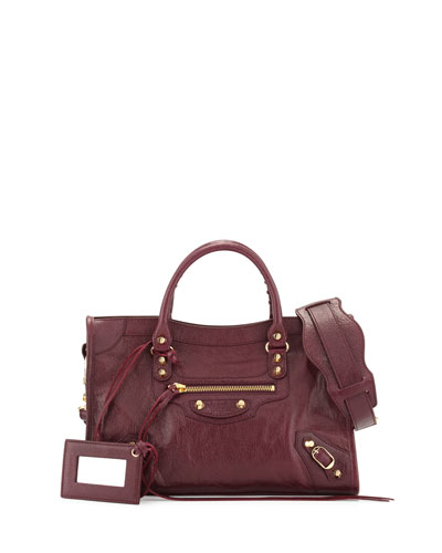 Classic City Golden Small Tote Bag, Violet