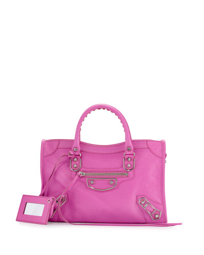 Metallic Edge Nickel Small City Bag, Rose