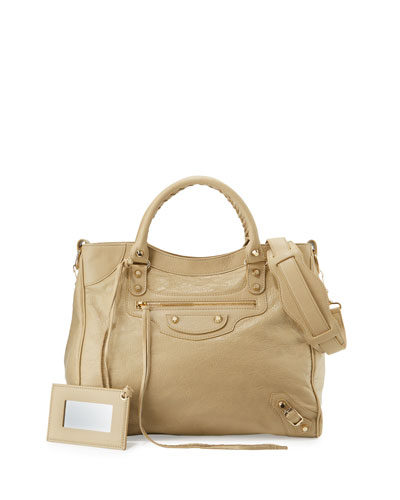 Giant 12 Gold Velo Lambskin Tote Bag, Beige Sable