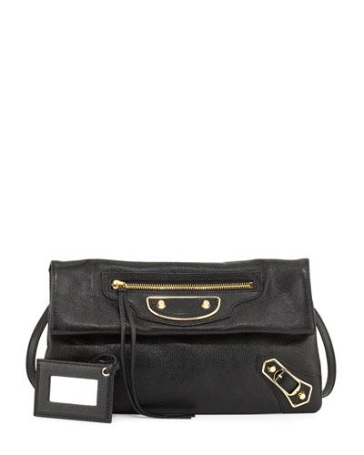 Metallic Edge Lambskin Envelope Clutch Bag, Black/Gold