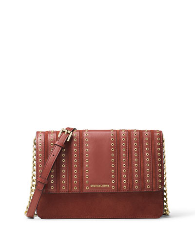 Michael Kors Brooklyn Large Grommet Crossbody Bag - Brick