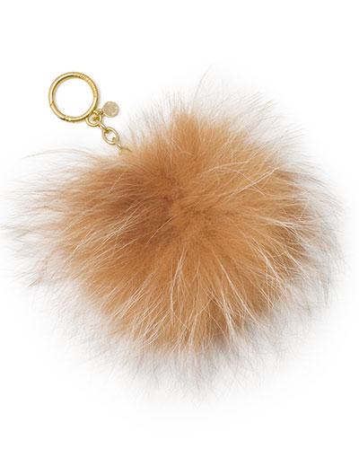 Large Fur Pompom Keychain, Natural