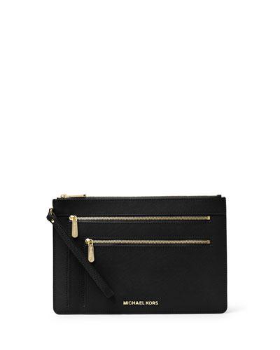 Jet Set Travel XL Triple-Zip Wristlet Clutch Bag, Black