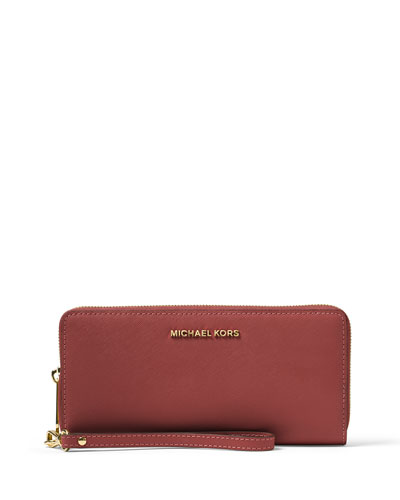 Jet Set Travel Continental Wristlet Wallet, Brick