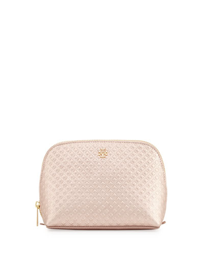 Marion Leather Cosmetic Case, Rose Gold