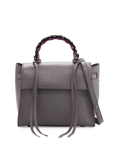 Angel Sensua Medium Satchel Bag, Gray/Purple
