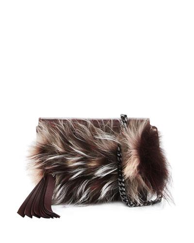 Nina Mini Crazy Fur Clutch Bag, Bordeaux