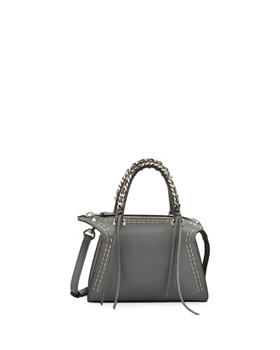 Gabria Metal Scars Mini Satchel Bag, Steel