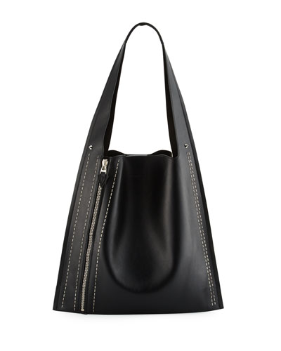 Estia Metal Scars Leather Hobo Bag, Black