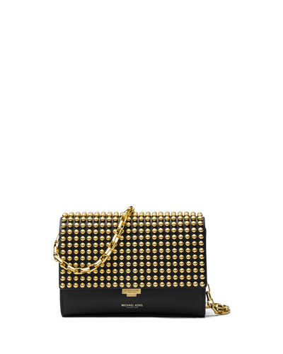 Yasmeen Small Studded Clutch Bag, Black/Gold