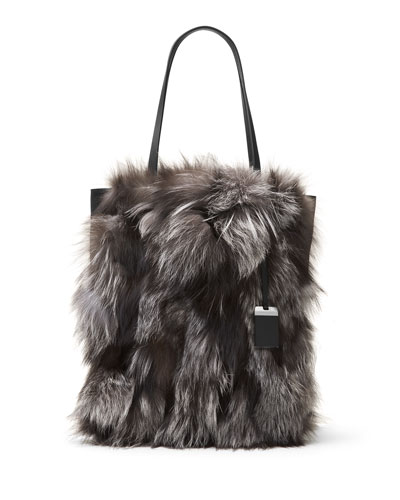 Eleanor Large Fox-Fur North-South Tote Bag, Silver