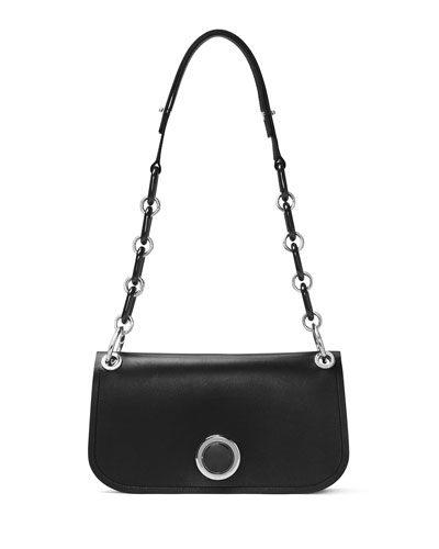 Goldie East-West Flap Shoulder Bag, Black