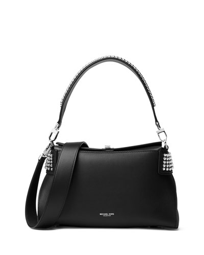 Miranda Medium Top-Lock Shoulder Bag, Black/Palladium
