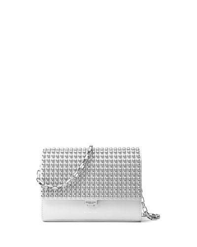 Yasmeen Small Studded Clutch Bag, Optic White/Palladium
