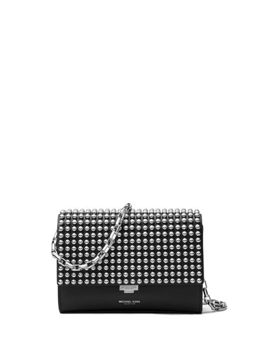 Yasmeen Small Studded Clutch Bag, Black/Palladium