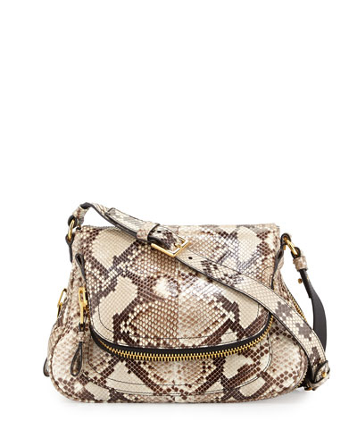 Jennifer Medium Python Shoulder Bag
