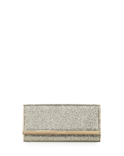 Milla Glitter Fabric Clutch Bag, Champagne