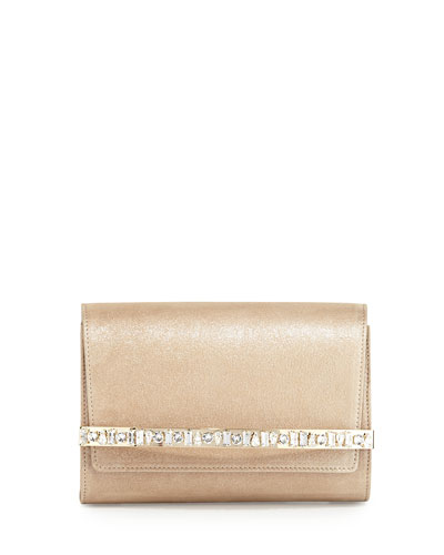 Bow Crystal-Bar Clutch Bag, Sand