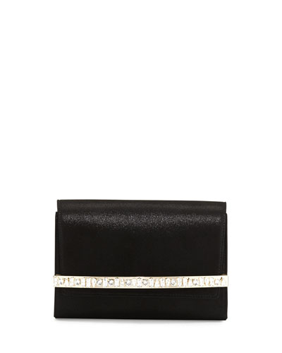 Bow Crystal-Bar Clutch Bag, Black
