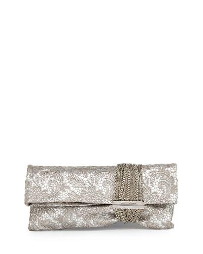 Chandra Soft Lace Clutch Bag, Platinum