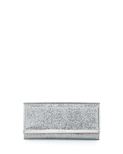 Milla Glitter Fabric Clutch Bag, Silver