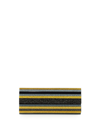Sweetie Lacquered Acrylic Clutch Bag, Yellow