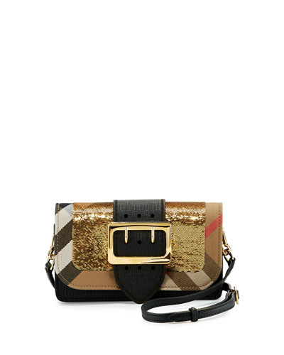 Small Buckle Sequined House Check Shoulder Bag, Gold/Black