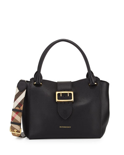 Medium Buckle Tote Bag, Black