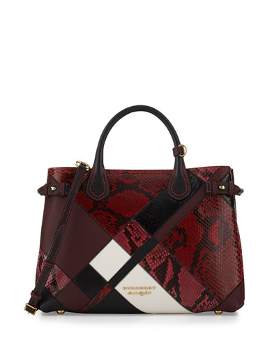 Banner Medium Patchwork Python Tote Bag, Pink