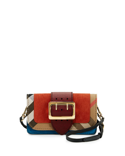 Small Buckle Suede & House Check Shoulder Bag, Burnt Sienna
