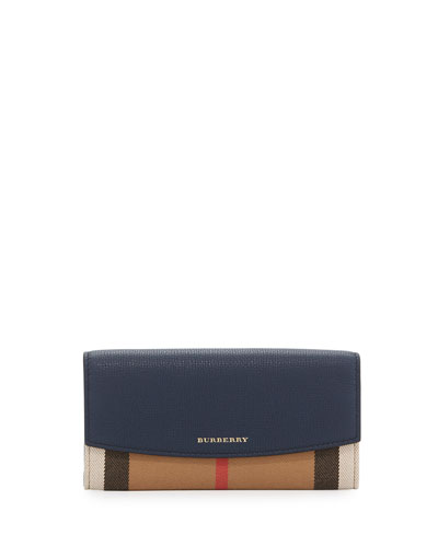 Porter House Check Continental Wallet, Ink Blue