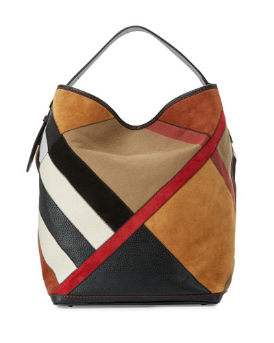 Ashby Colorblock Check Canvas Hobo Bag, Black/Multi