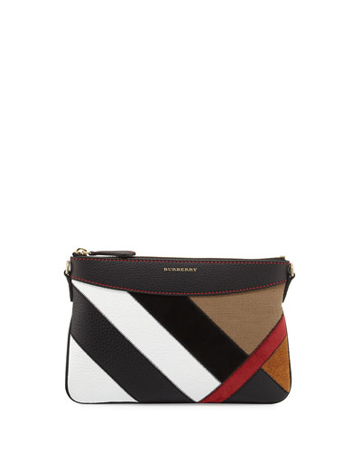 Peyton Patchwork Check Clutch Bag, Black
