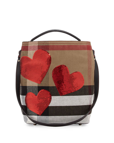 Ashby Medium Heart Check Canvas Hobo Bag, Red