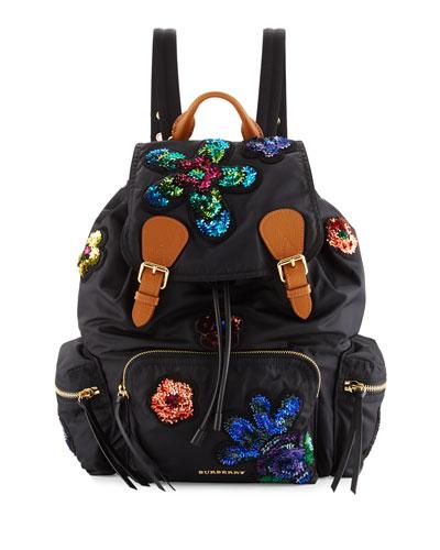Medium Rucksack Prorsum Patch Nylon Backpack, Black