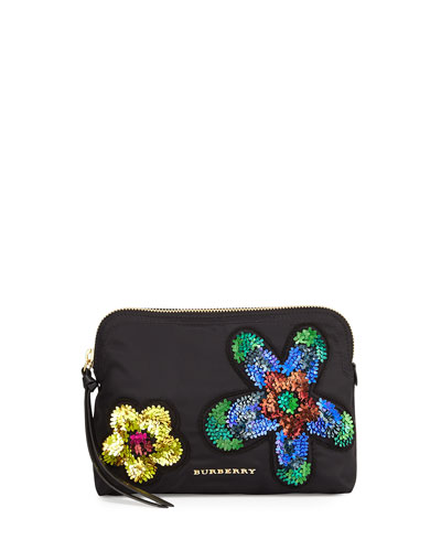Large Floral-Embellished Zip Pouch Bag, Black