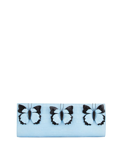 Butterfly Crocodile Razor Clutch Bag