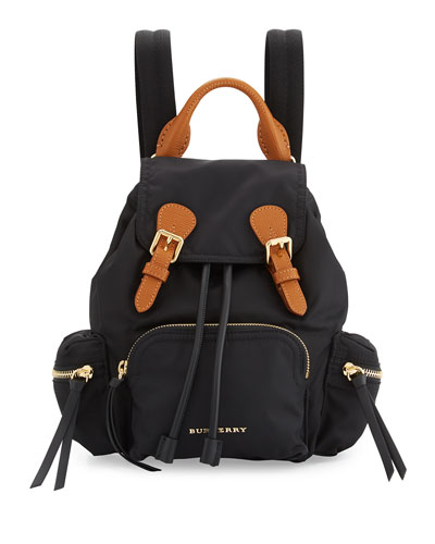 Small Leather-Trim Nylon Backpack, Black
