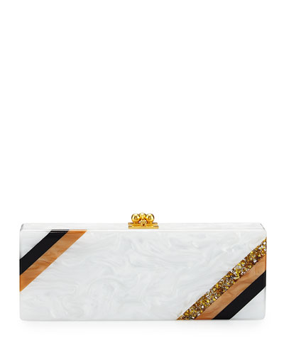 Flavia Diagonal Stripe Clutch Bag