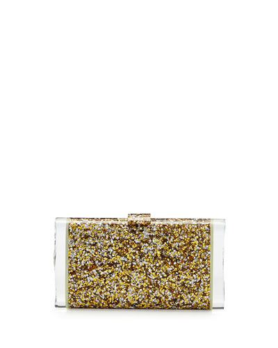 Lara Backlit Acrylic Clutch Bag, Gold/Silver/Glow
