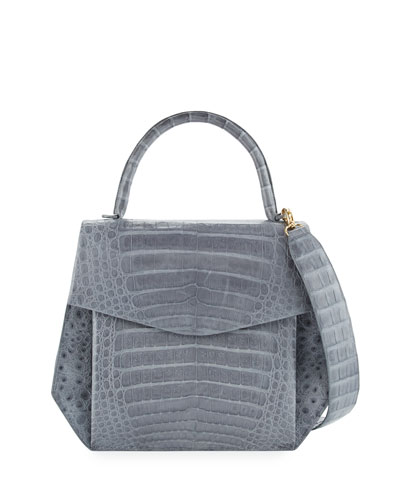 Crocodile Large Structured Top-Handle Bag, Gray Shiny