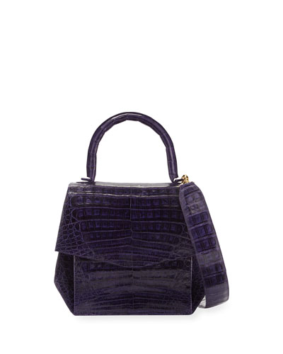 Crocodile Medium Structured Top-Handle Bag, Purple Shiny