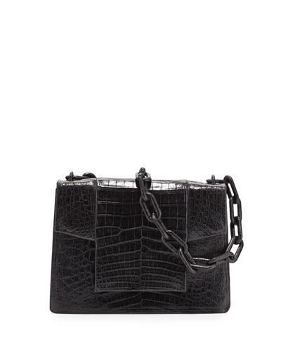 Crocodile Flap-Top Chain Shoulder Bag, Dark Blue