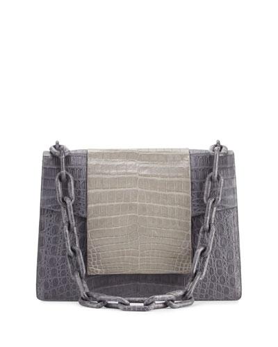 Bicolor Crocodile Flap-Top Chain Shoulder Bag, Gray Matte