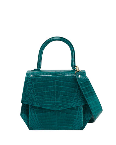 Crocodile Medium Structured Top-Handle Bag, Green Matte
